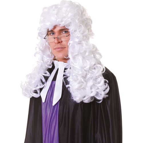 Fancy Dress Adult Male White Court Judge Wig