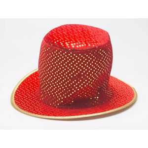 Velvet Top Hat With Gold Sequins (Red)