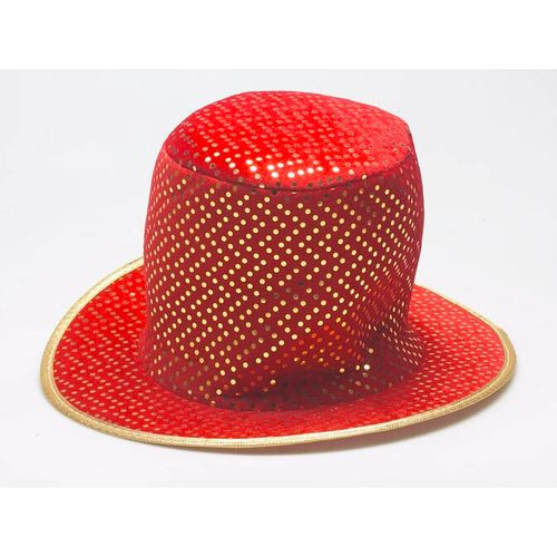 Fancy Dress Christmas Red Top Hat With Gold Sequins