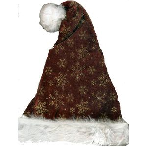 Glitter Snowflake Santa Hat (Burgundy)