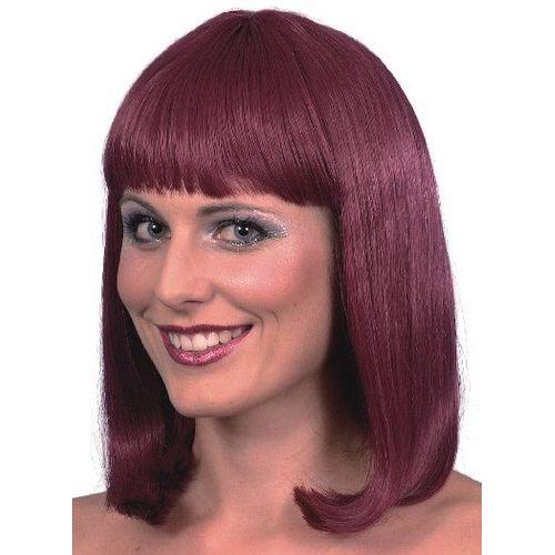 Burgundy Cheerleader Style Fancy Dress Wig