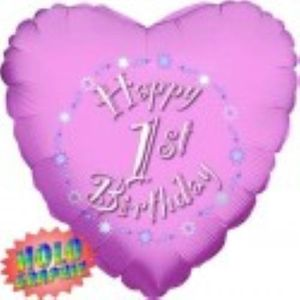 Happy 1st Birthday Holographic Foil Balloon (Pink) 18""