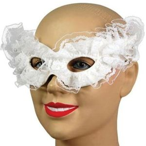 Venetian Lace Trim Eye Mask (White)