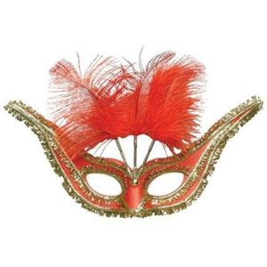 Gran Gala Domino Eye Mask With Feathers (Red)