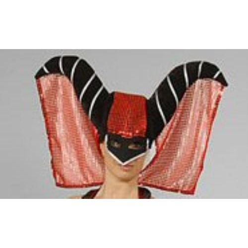 Fancy Dress Adult Deluxe Devil Wizard Hood & Veil Halloween Hat Red