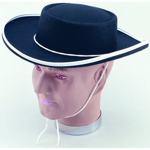 Fancy Dress Costume Adult Black Felt Zorro Cowboy Wild Western Hat