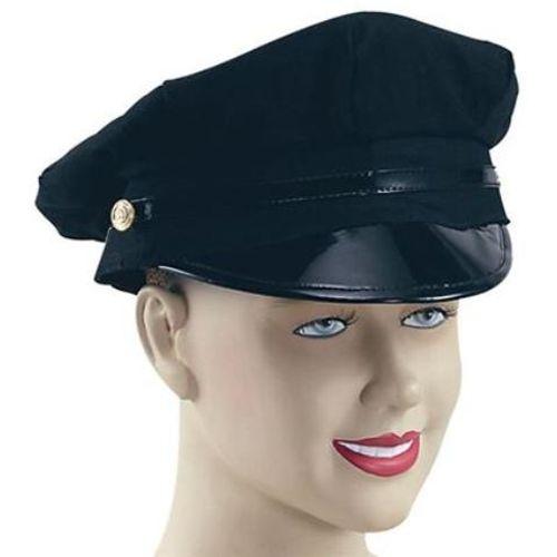 Peaked Black Cap Fancy Dress Costume Hat