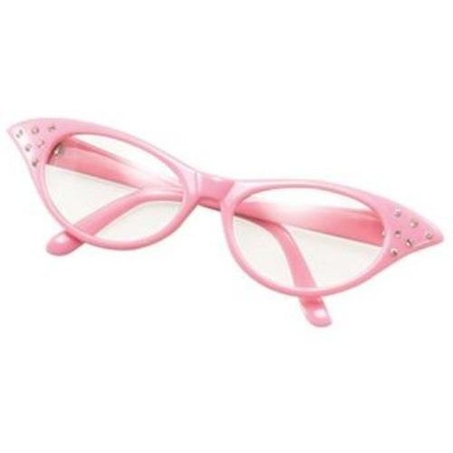 Ladies 50`s Style Pink Fancy Dress Glasses