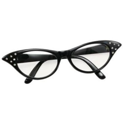 Ladies 50`s Style Black Fancy Dress Glasses