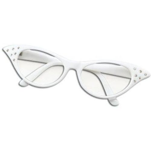 Ladies 50`s Style White Fancy Dress Glasses