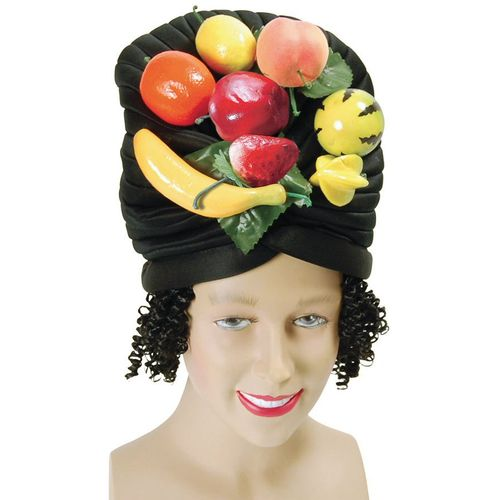 Carmen Miranda Style Hat With Fruit & Hair Attached Fancy Dress Accessory