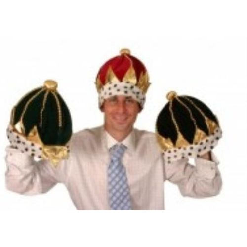 Fancy Dress King Crown Green Christmas Hat