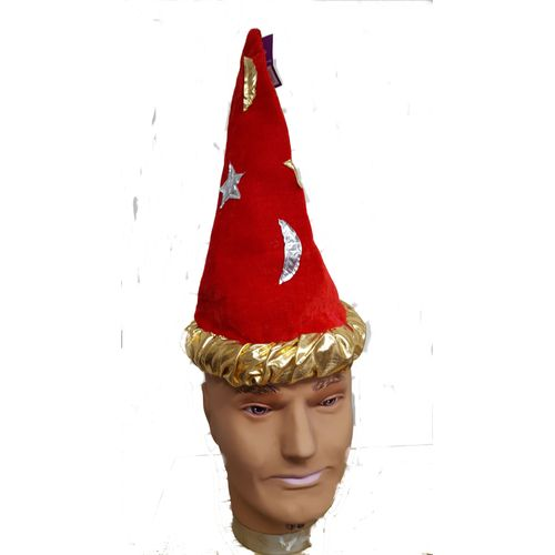 Wizard Style Fancy Dress Hat  Red With Gold & Silver Stars & Moons