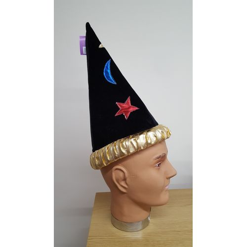 Black Wizard Hat With Multicolour Applique Stars & Moons Fancy Dress Accessory