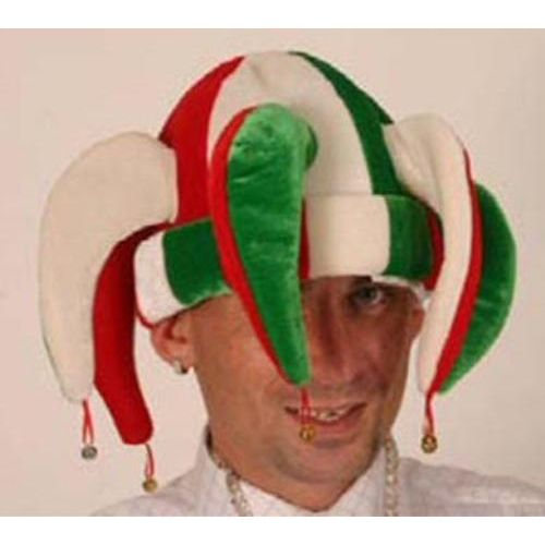 Fancy Dress Jester Hat Red White Green