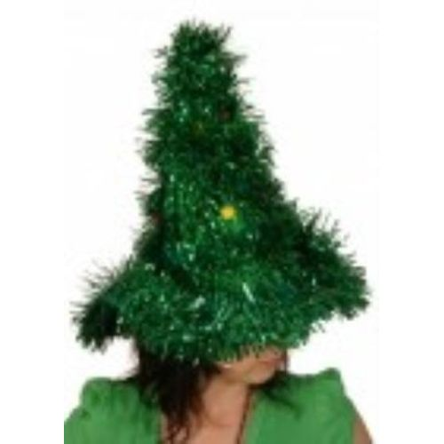 christmas tree hat green tinsel