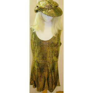 Mosaic Metallic Mini Dress Black/Gold Size 12-14