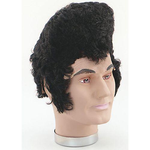Fancy Dress Adult Elvis Presley 50`s 60`s Rock n Roll Rubber Forehead Black Wig