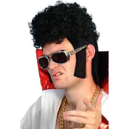 Fancy Dress Adult Male Elvis Presley 1950`s 1960`s Rocker Black Wig