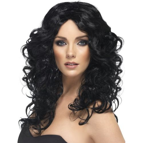 Black Wavy Shoulder Length Fancy Dress Adult Glamour Wig