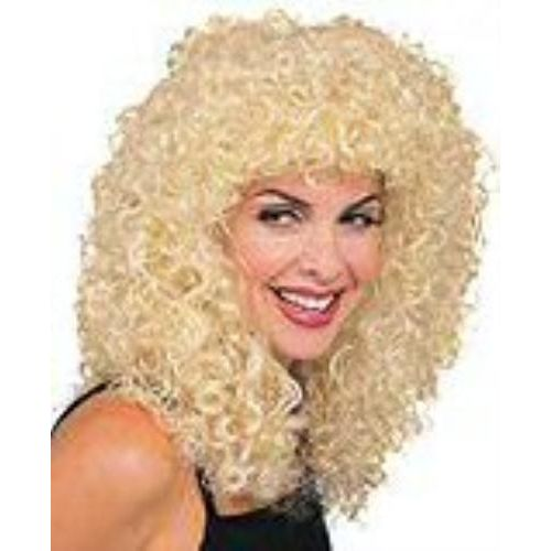 Fancy Dress Adult Female Long Super Curly Blonde Medieval Wench Wig