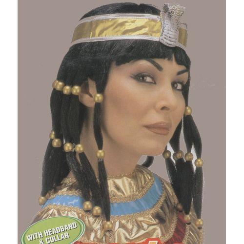Fancy Dress Adult Black Cleopatra Wig With Headband & Collar Egyptian