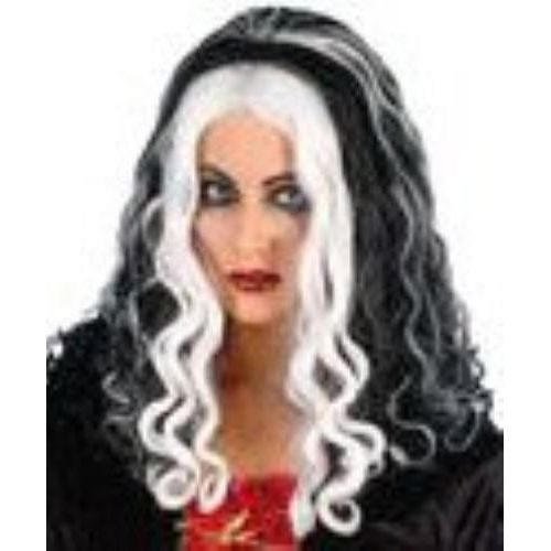 fancy dress and halloween wig  Witch Queen  Black With White Streaks