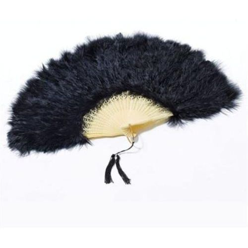 Black Feathered Fan Fancy Dress Accessory