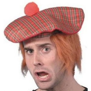 Scots Tartan Hat With Ginger Hair Attached