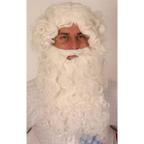 White Wig & Beard Set Fancy Dress Costume Accessory