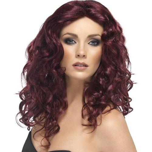 Burgundy Wavy Shoulder Length Fancy Dress Adult Glamour Wig