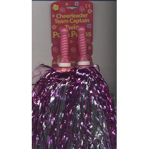 Cheerleader Foil Pom Poms x 2 (Pink/Silver)