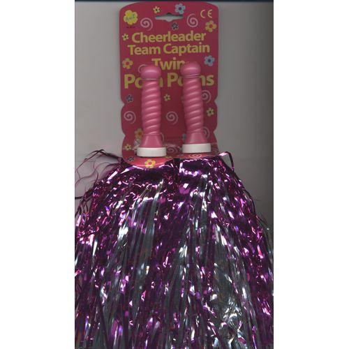 Cheerleader Pink & Silver Foil Pom Poms x 2