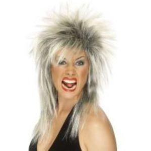 Gothic Rock Diva Mullet Wig (Blonde & Black)