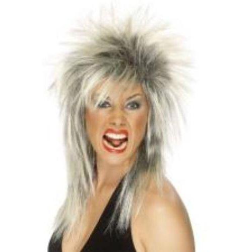 Fancy Dress Tina Turner Rock Diva Mullet Wig Blonde & Black Wig