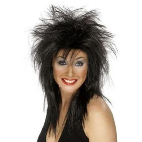 Fancy Dress Black Mullet Rock Diva Wig