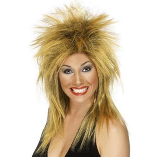 Fancy Dress Rock Diva Mullet Wig Ginger & Black