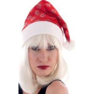Glitter Snowflake Santa Hat (Red)