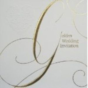 Golden Wedding Invitations & Envelopes 6 Pack