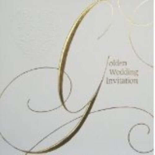 Golden Wedding Anniversary Invitations & Envelopes 6 Pack