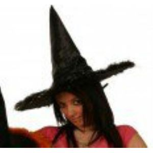 Witch Hat With Black Feather Trim