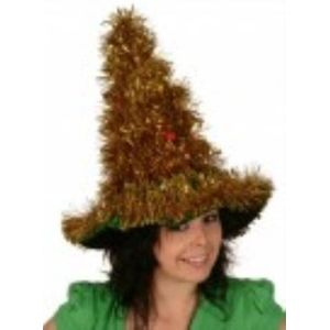 Tinsel Christmas Tree Hat (Gold)