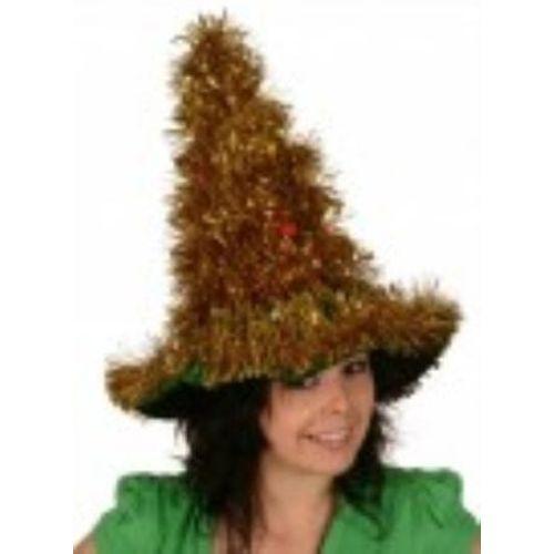 christmas tree hat gold tinsel