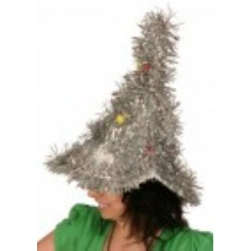 christmas tree hat silver tinsel