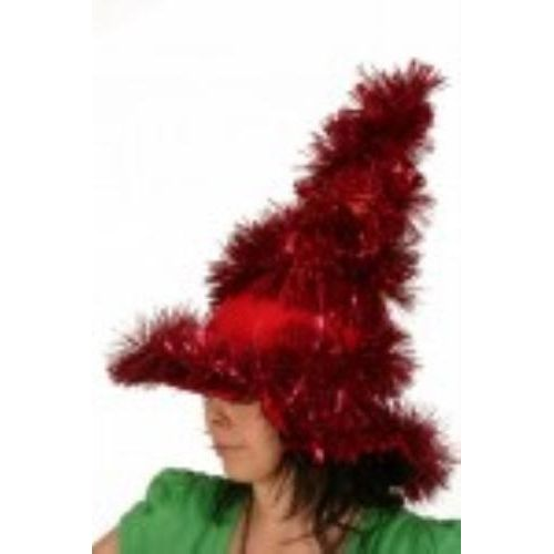 christmas tree hat red tinsel