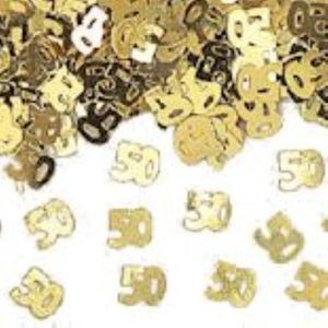 Number 50 Gold Foil Confetti