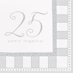 Silver 25th Anniversary 25 Years Together Napkins 16 PK