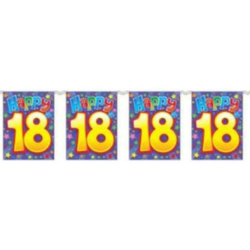 party Happy 18th Birthday Bunting 8 Flags Approx 3.6m Long