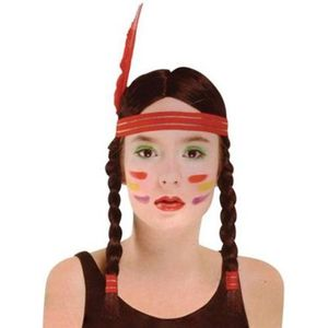 Plaited Indian Squaw Wig With Feather Headband (Black)