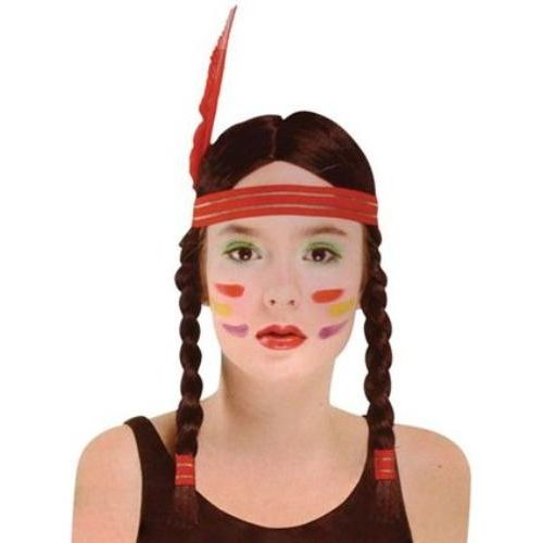 Black Plaited Fancy Dress Wig With Feather Headband